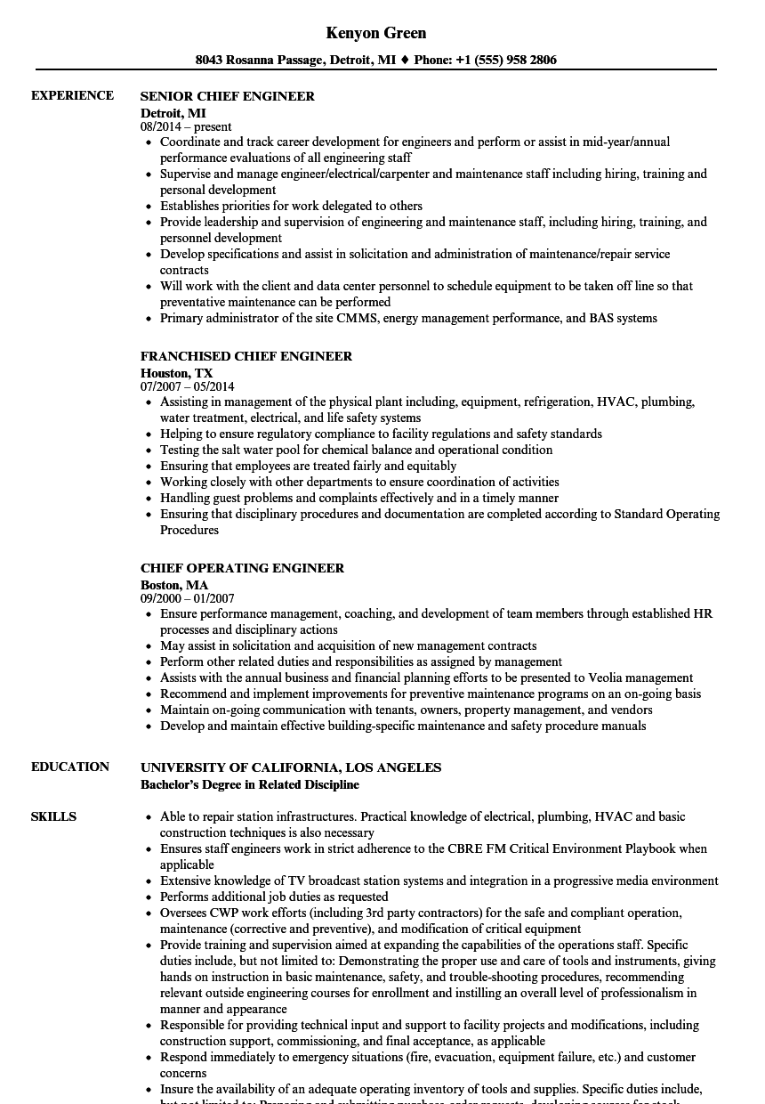 engineer  chief resume samples