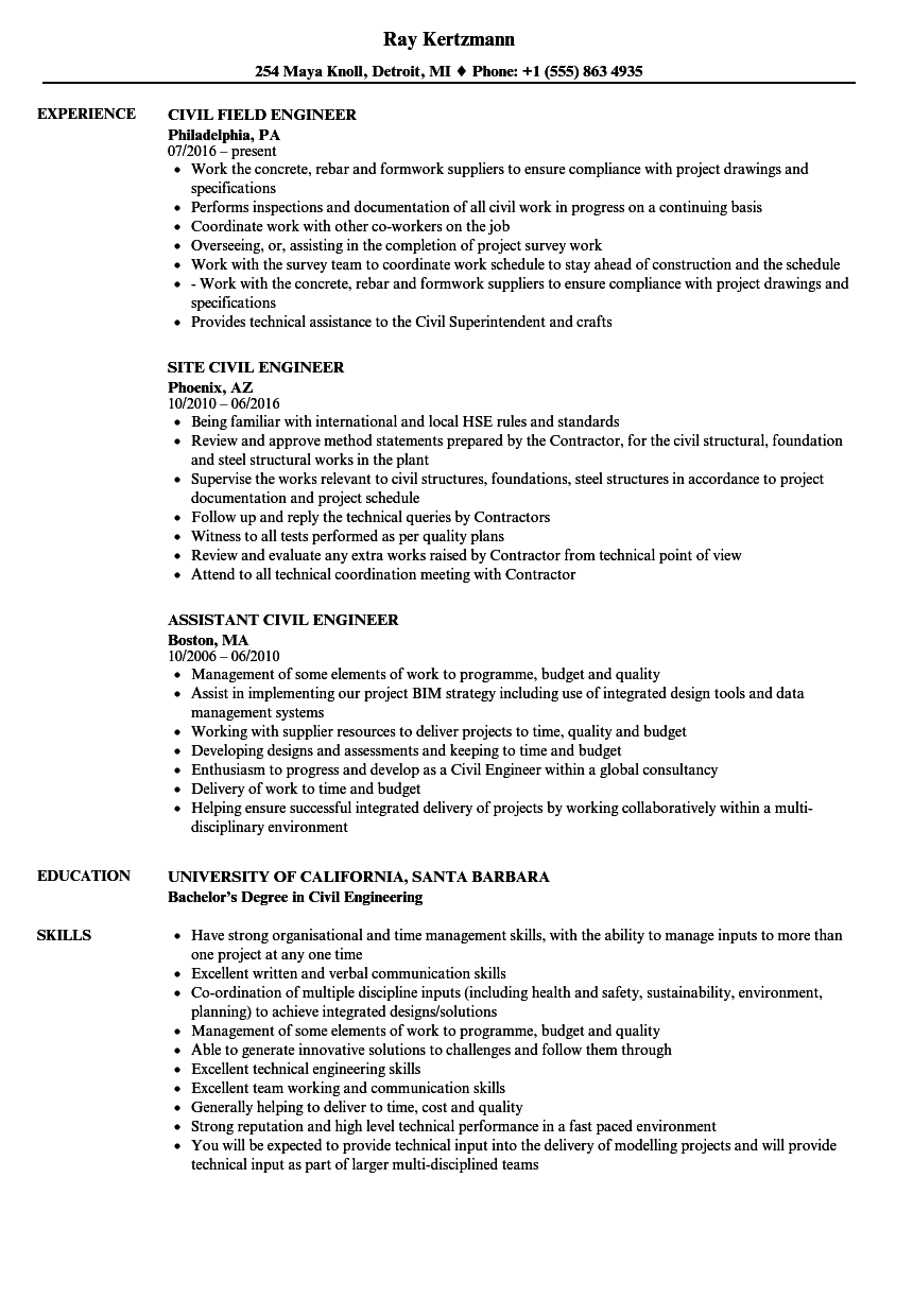 engineer  civil engineer resume samples