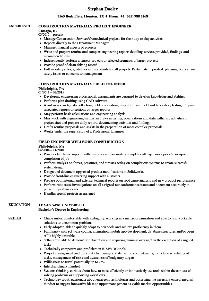Engineer Construction Resume Samples | Velvet Jobs