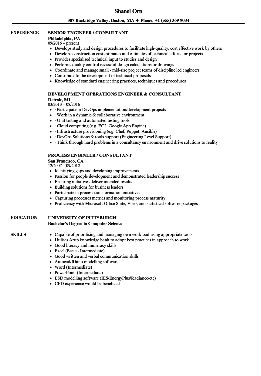 engineer consultant resume samples