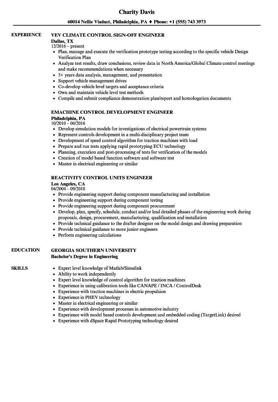 Engineer, Control Resume Samples | Velvet Jobs