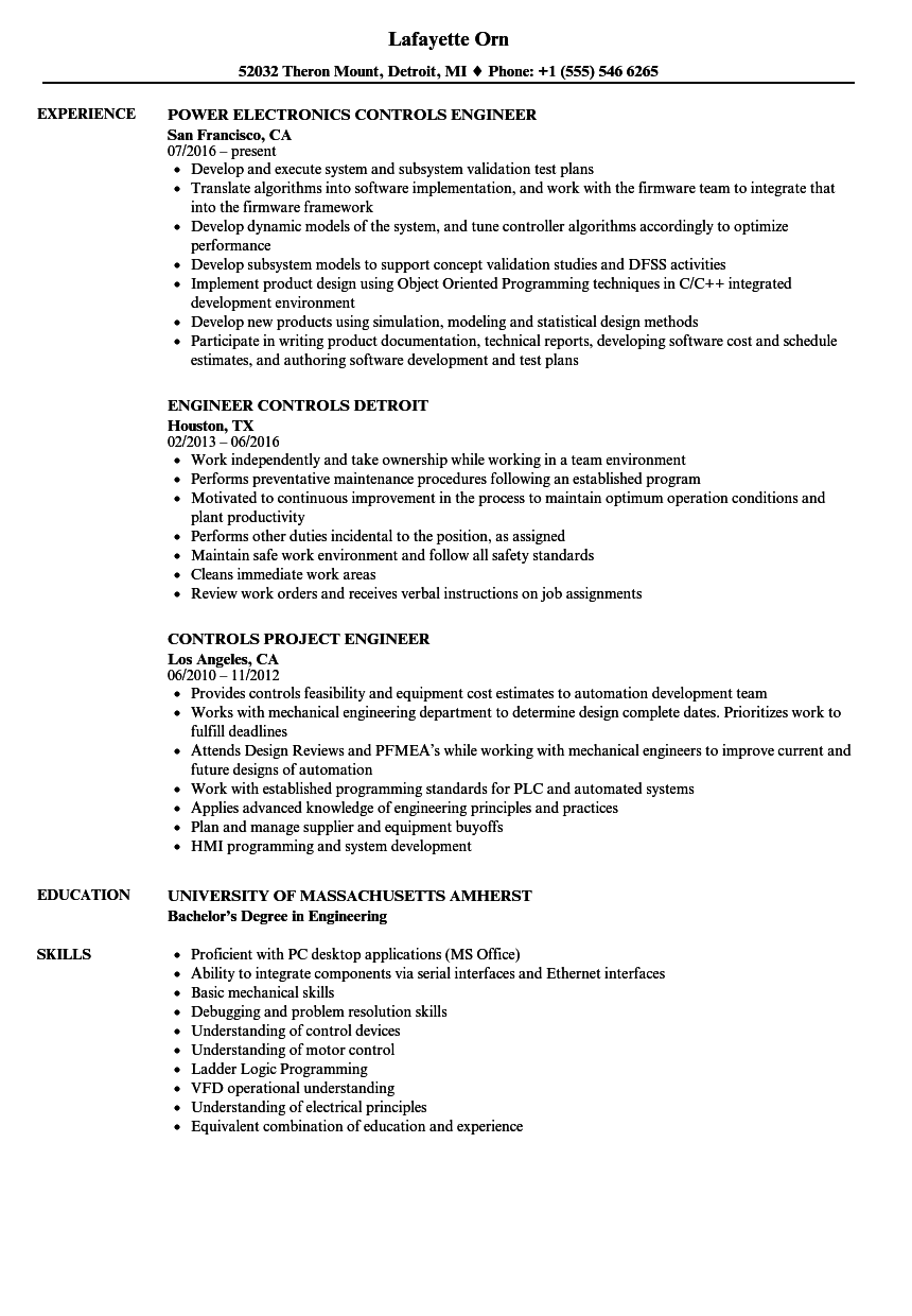 Engineer, Controls Resume Samples | Velvet Jobs