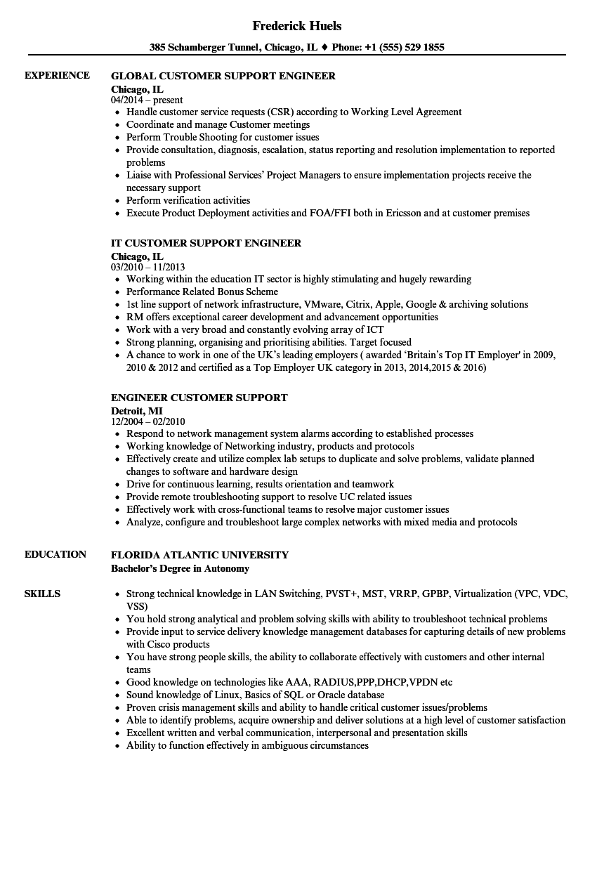 Engineer Customer Support Resume Samples | Velvet Jobs