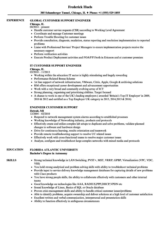 engineer customer support resume samples