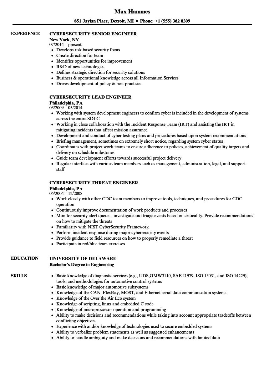 engineer  cybersecurity resume samples