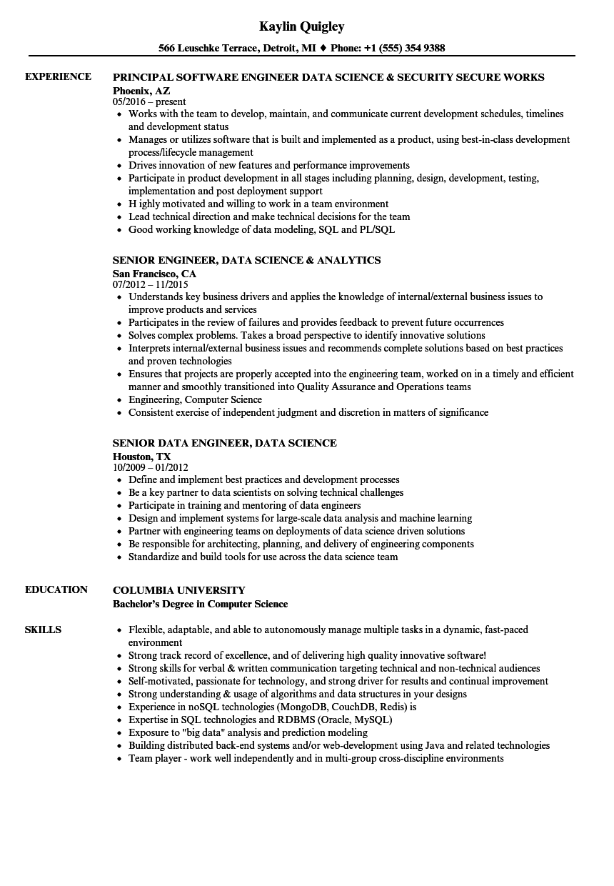 download engineer data science resume sample as image file - Data Science Resume Examples