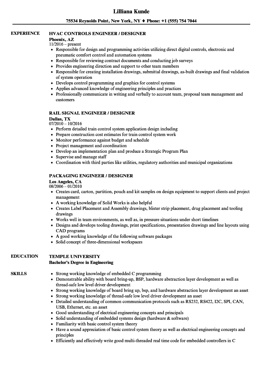 Engineer Designer Resume Samples | Velvet Jobs