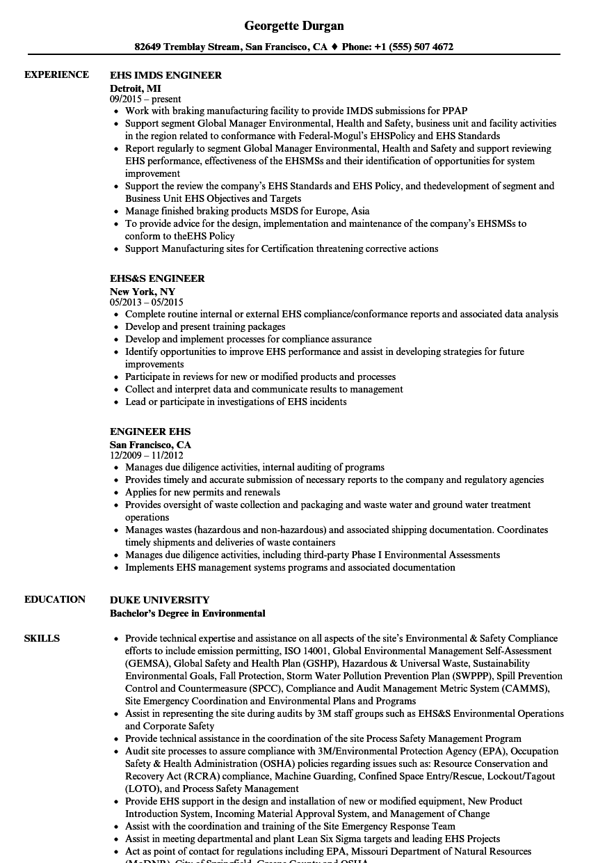Engineer EHS Resume Samples | Velvet Jobs