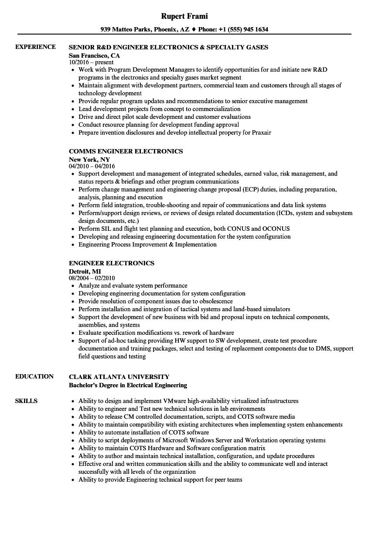 Engineer Electronics Resume Samples | Velvet Jobs
