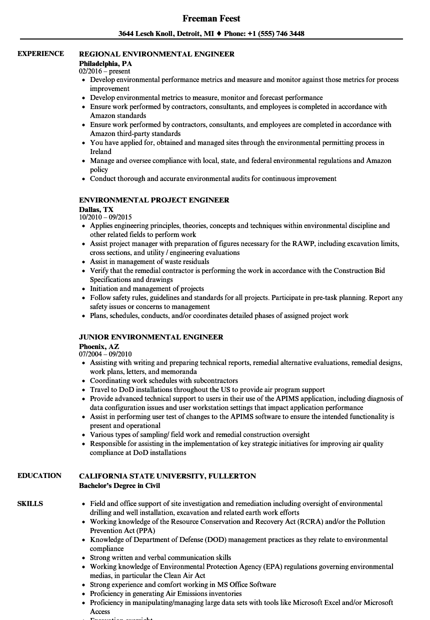 engineer environmental resume samples