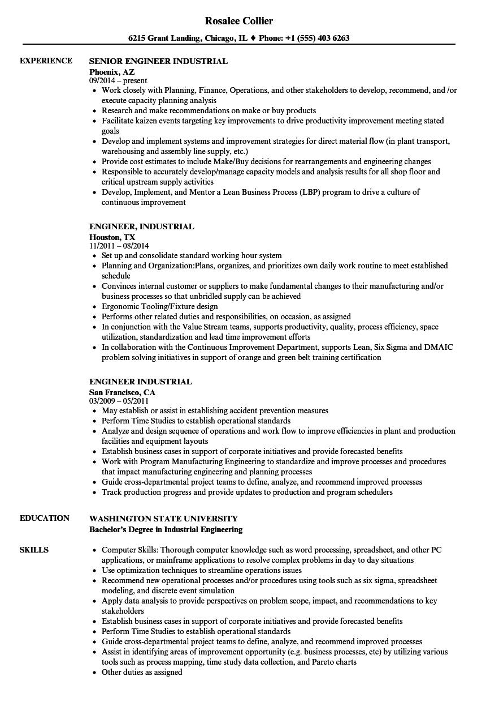 engineer industrial resume samples