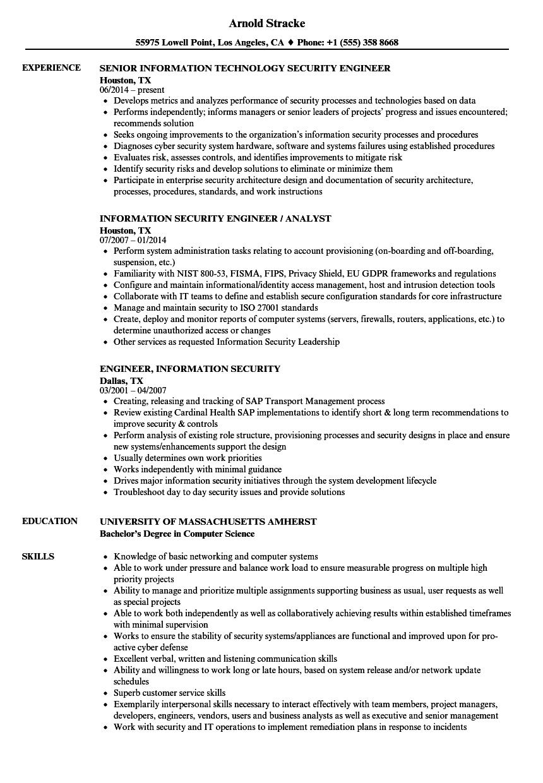 engineer  information security resume samples