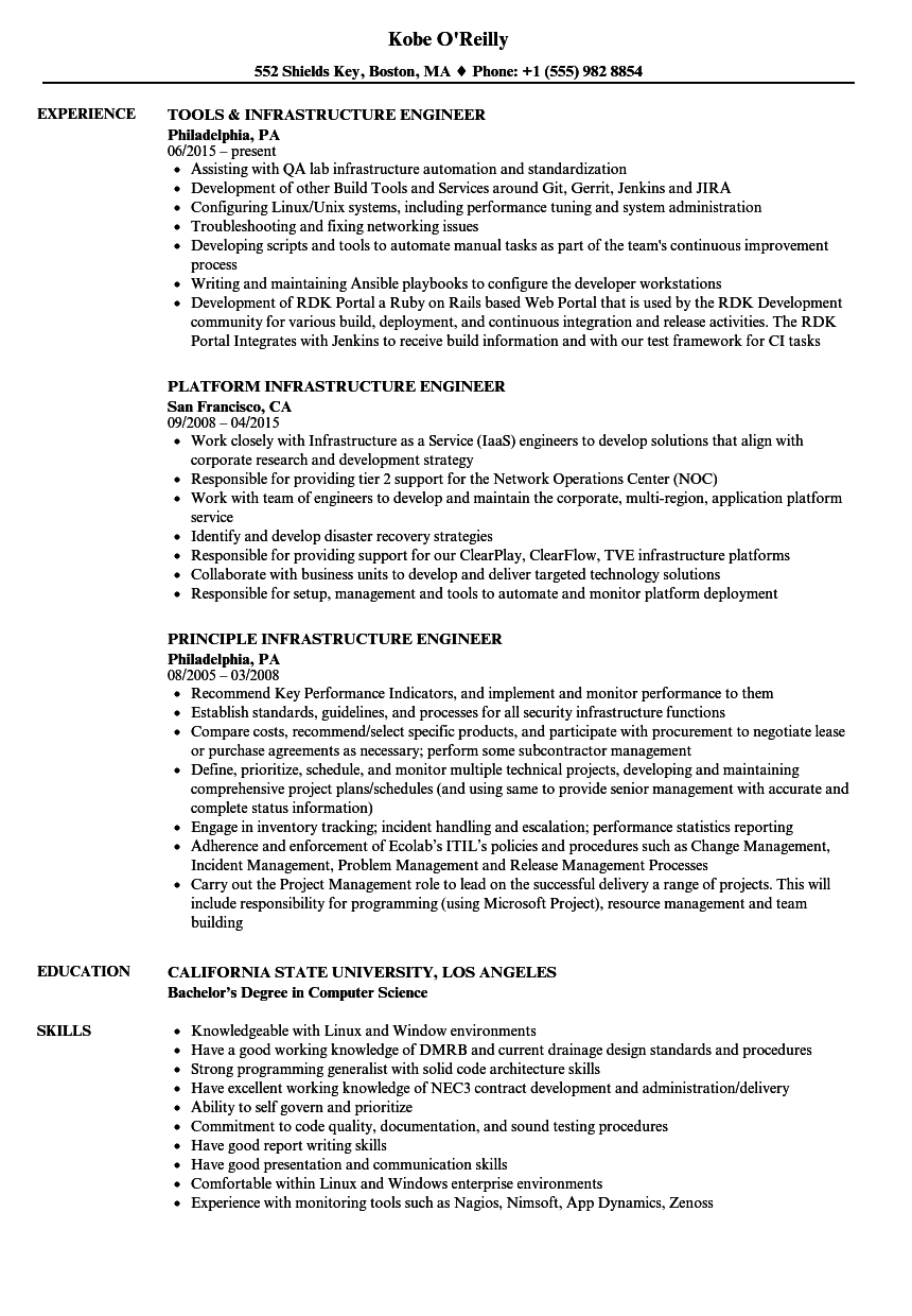 Engineer, Infrastructure Resume Samples | Velvet Jobs