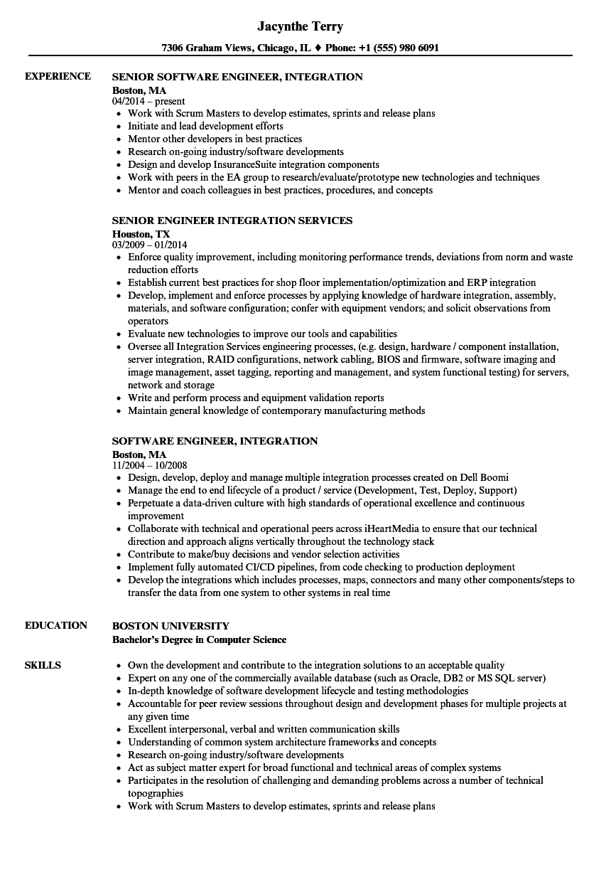Engineer, Integration Resume Samples | Velvet Jobs