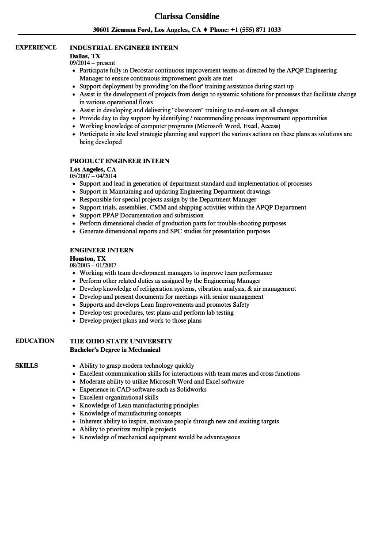 engineer intern resume samples velvet jobs