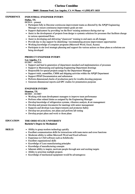 99+ Engineer Intern Resume - Teamwork Skills Resume Software