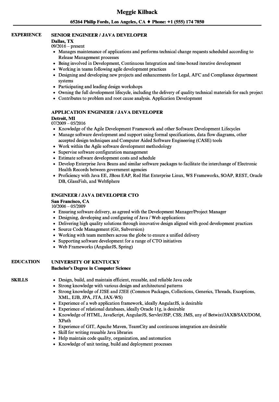 engineer     java resume samples