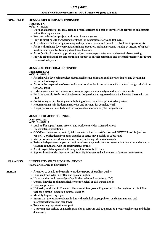 Engineer Junior Resume Samples | Velvet Jobs
