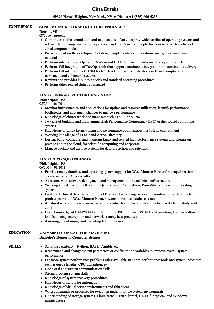 engineer  linux resume samples