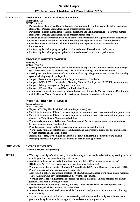engineer logistics resume samples