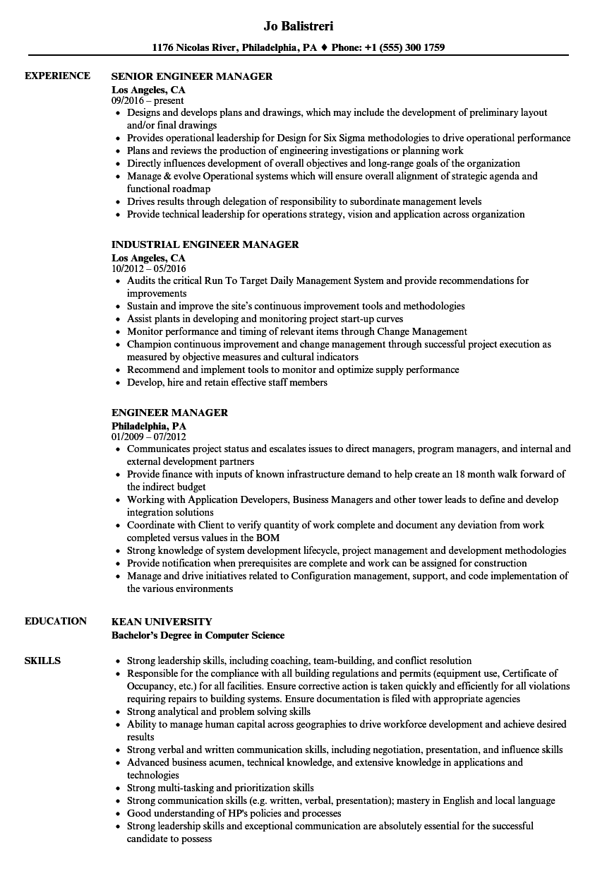 engineer manager resume samples