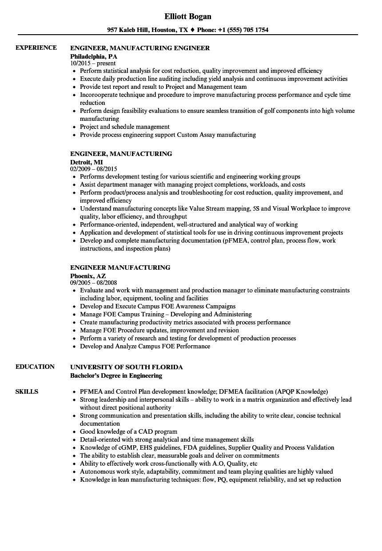 engineer  manufacturing resume samples