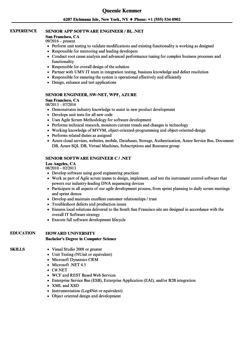 Engineer .NET Senior Resume Samples | Velvet Jobs