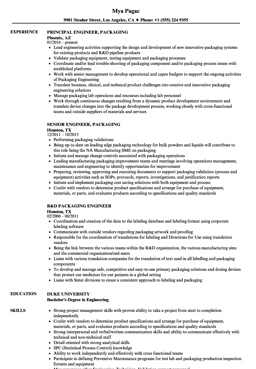 Engineer, Packaging Resume Samples | Velvet Jobs