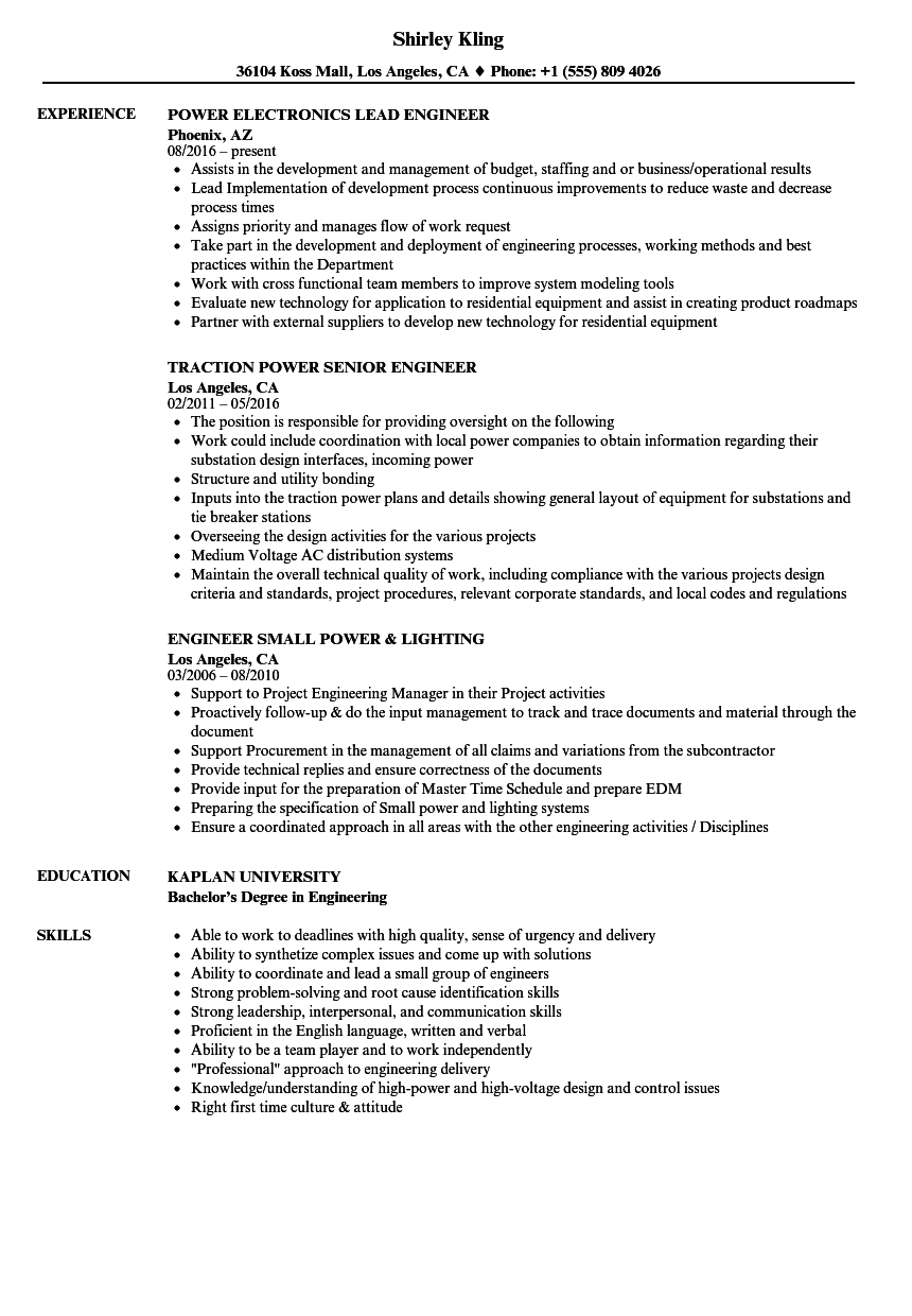 engineer power resume samples