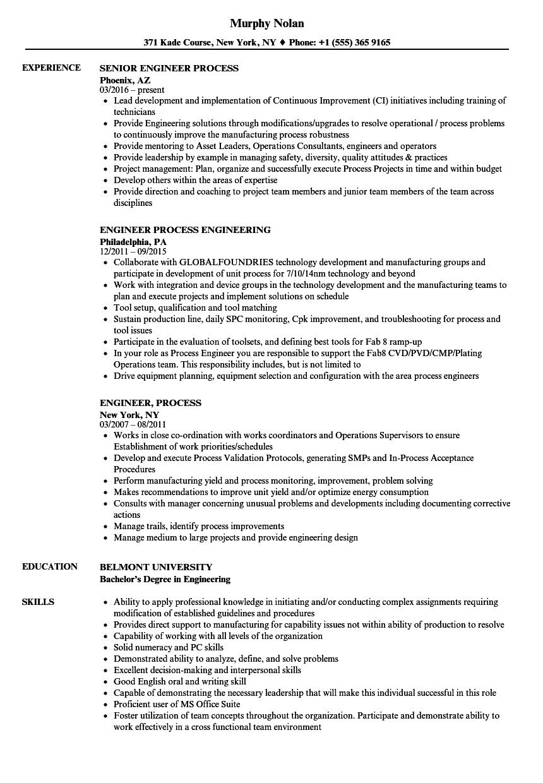 engineer process resume samples
