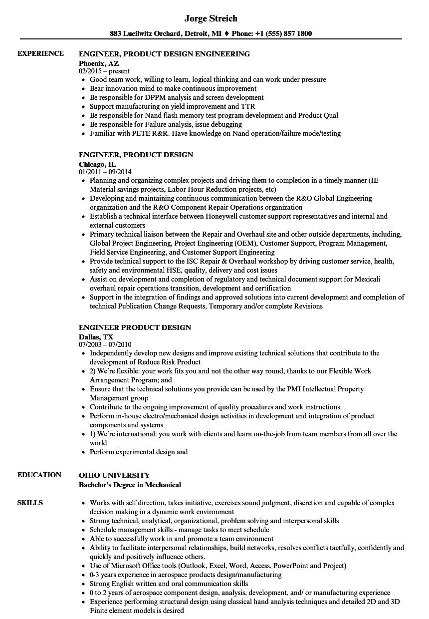 engineer  product design resume samples