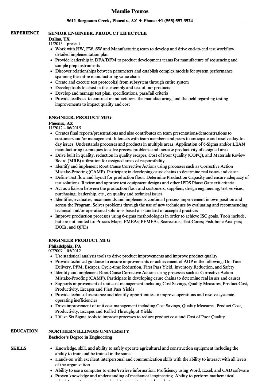 Engineer, Product Resume Samples | Velvet Jobs