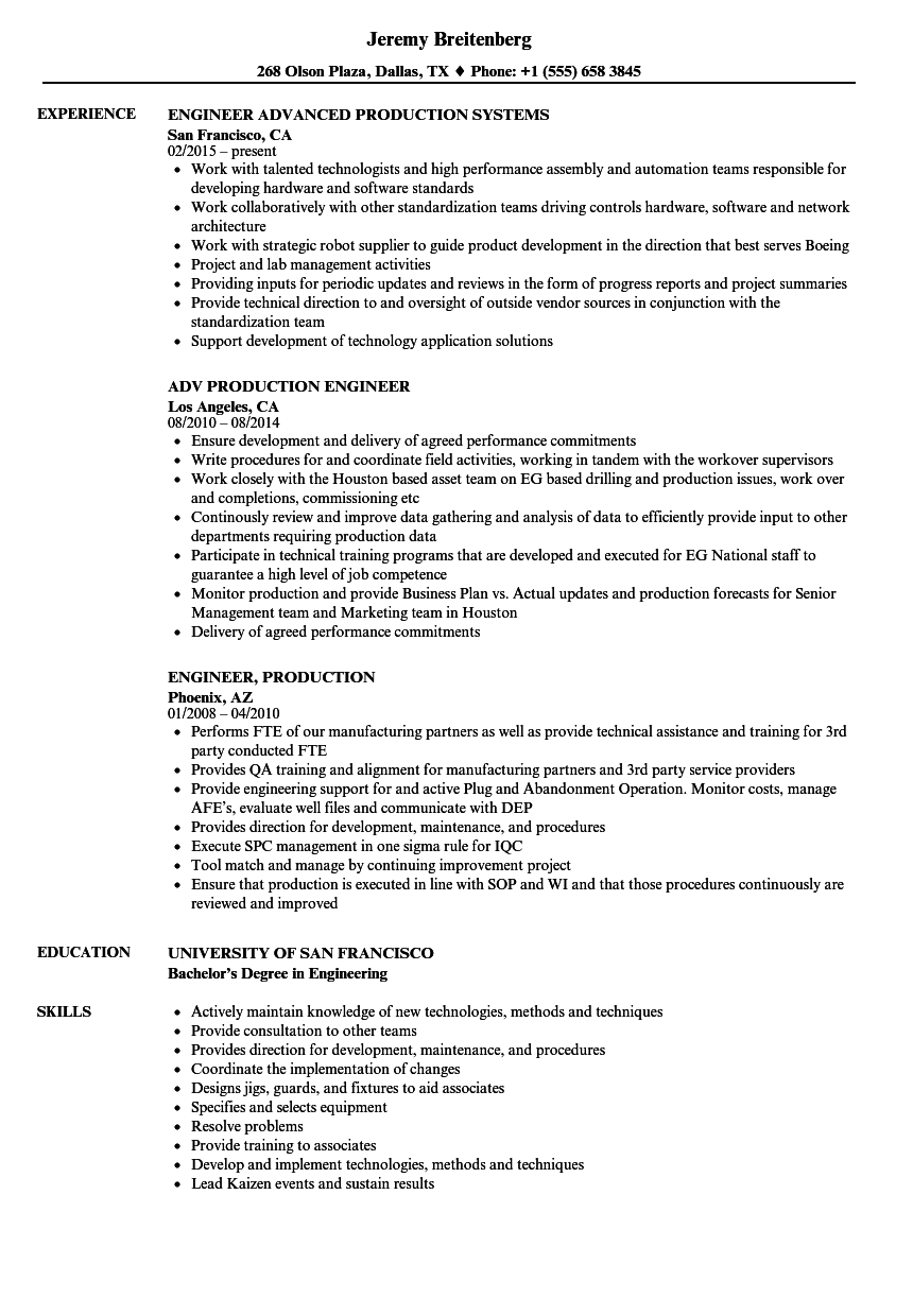 engineer  production resume samples
