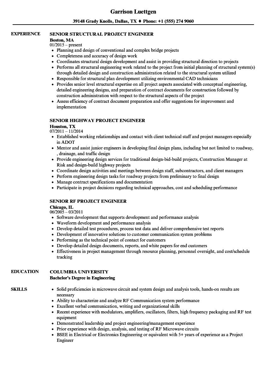 engineer    project engineer    senior engineer resume
