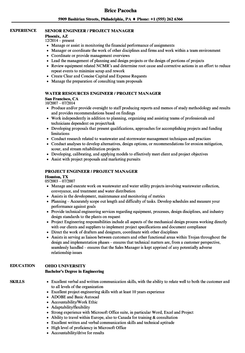 engineer  project manager resume samples