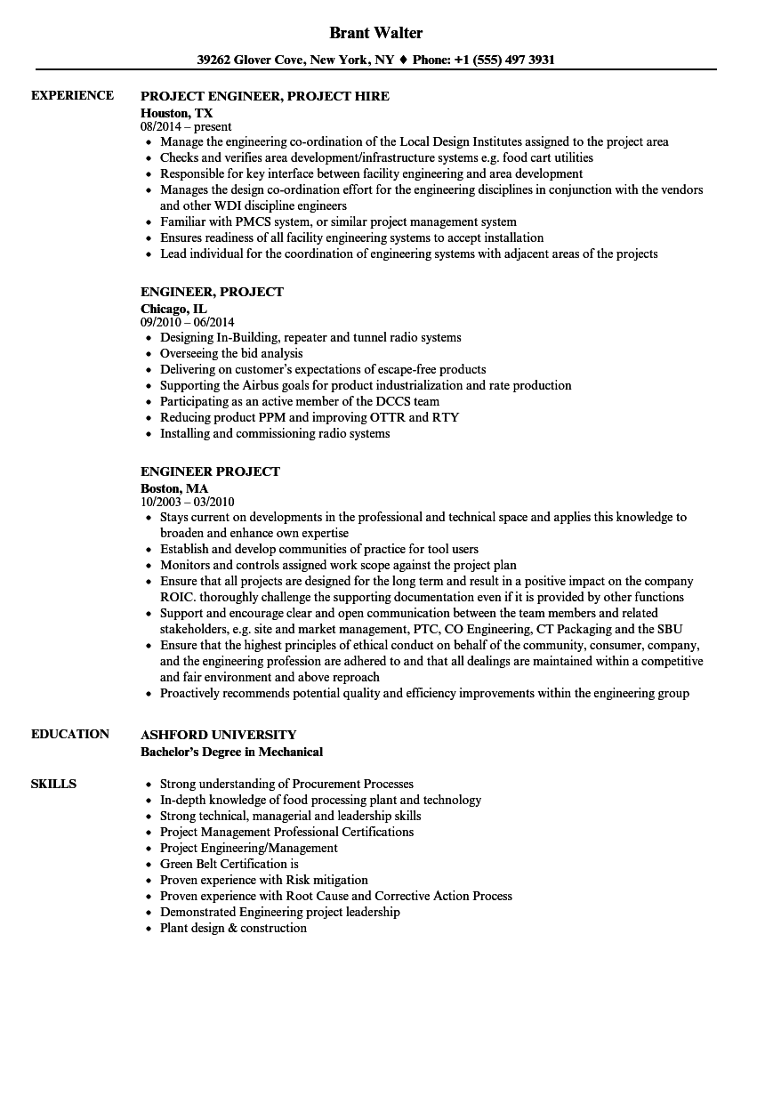 Engineer Project Resume Samples | Velvet Jobs