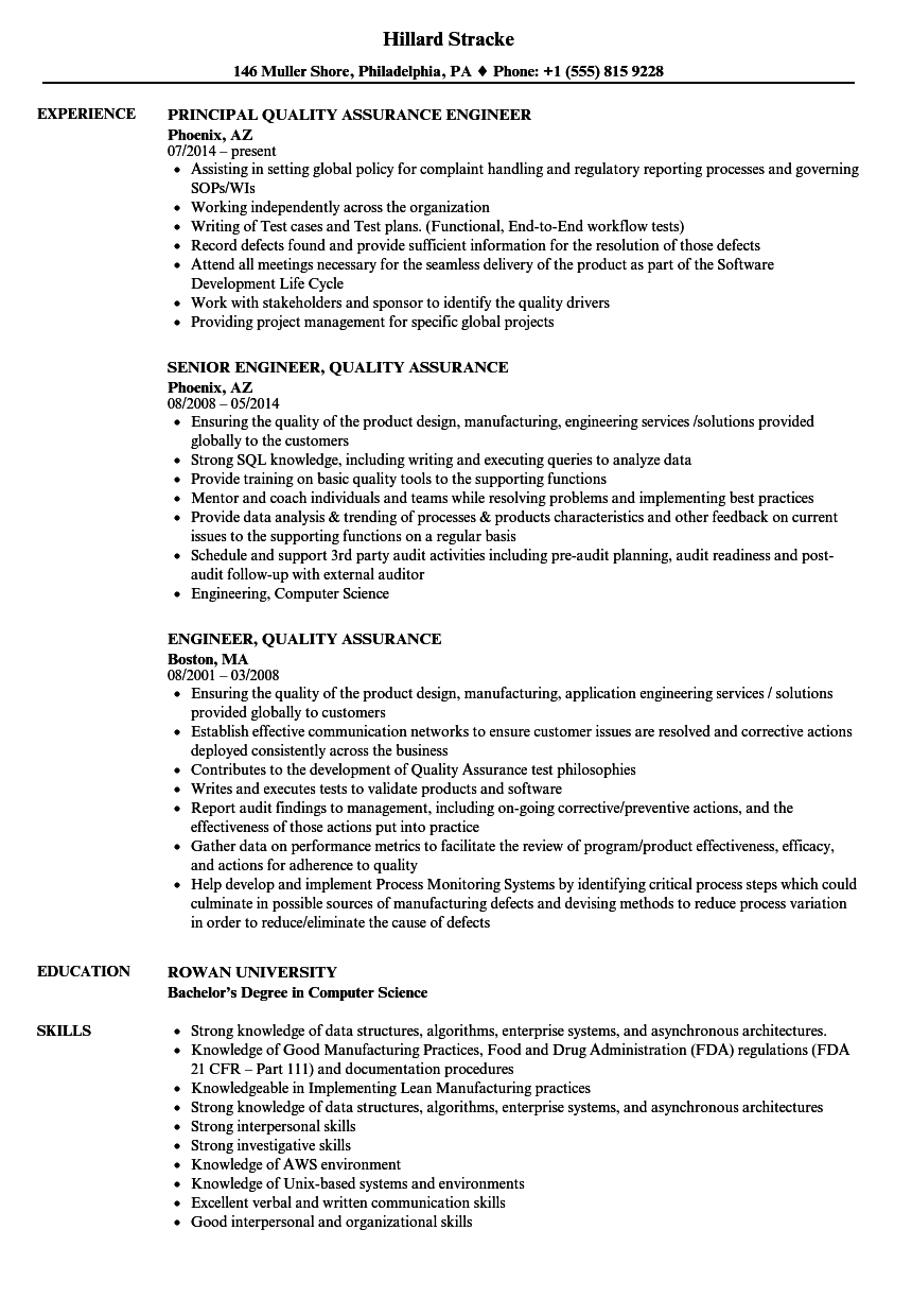 engineer  quality assurance resume samples