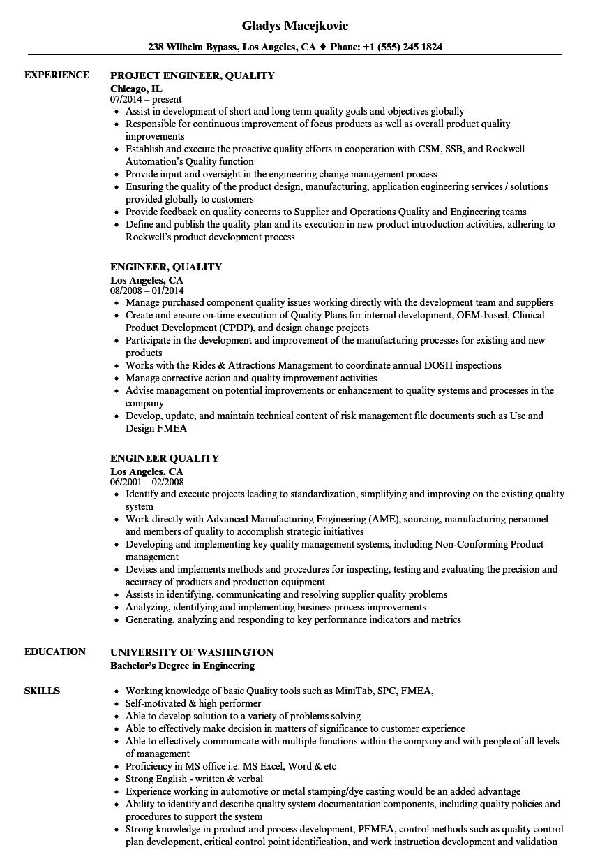 Engineer, Quality Resume Samples | Velvet Jobs