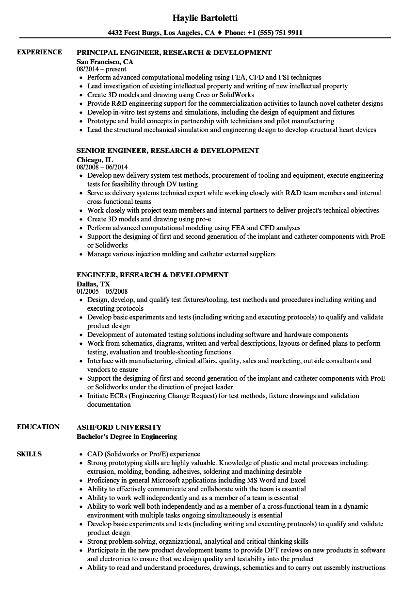 engineer  research  u0026 development resume samples