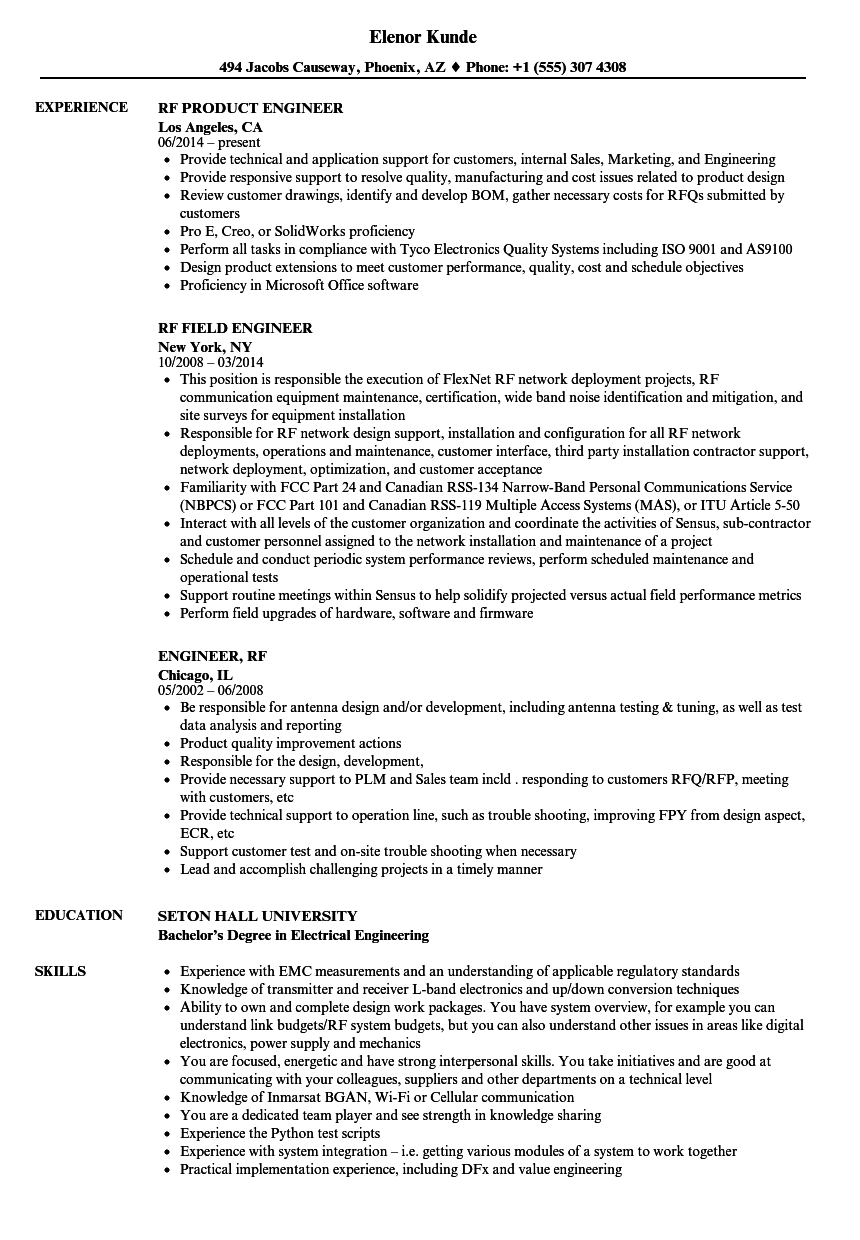 engineer  rf resume samples