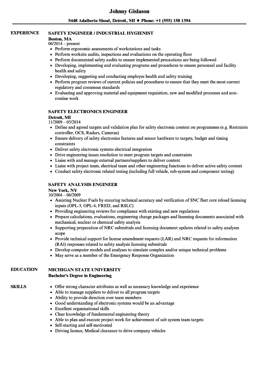 Dam safety engineer sample resume