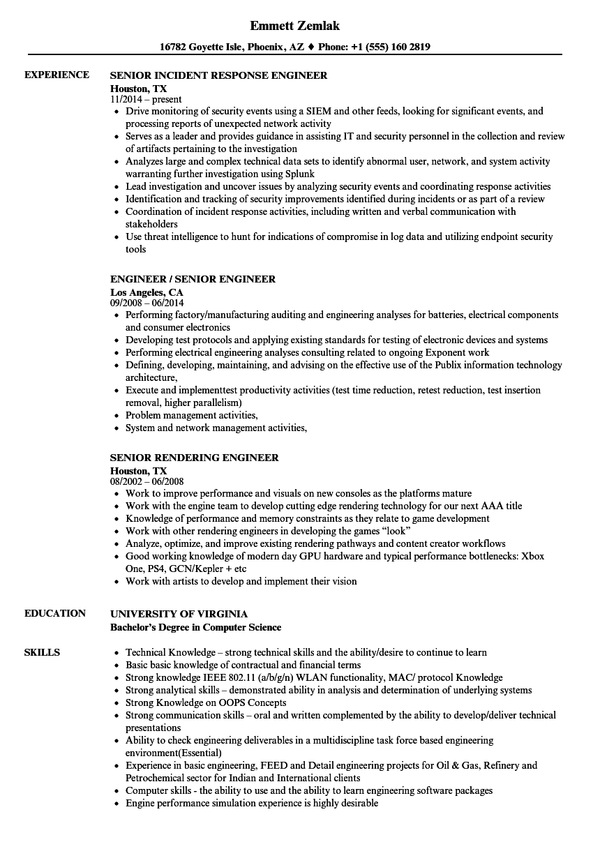 Engineer / Senior Engineer Resume Samples | Velvet Jobs