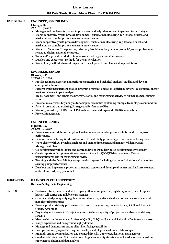 engineer  senior resume samples