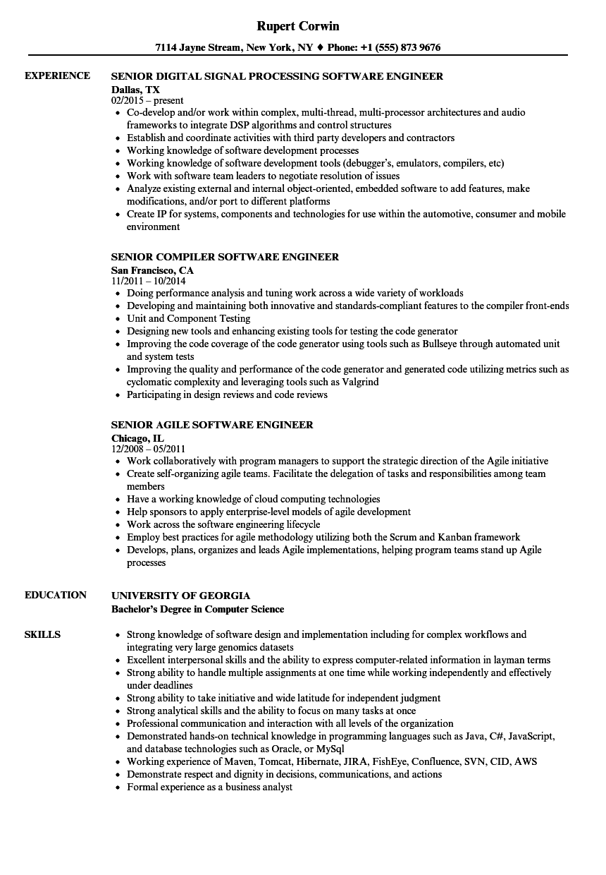 Engineer / Senior Software Engineer Resume Samples | Velvet Jobs