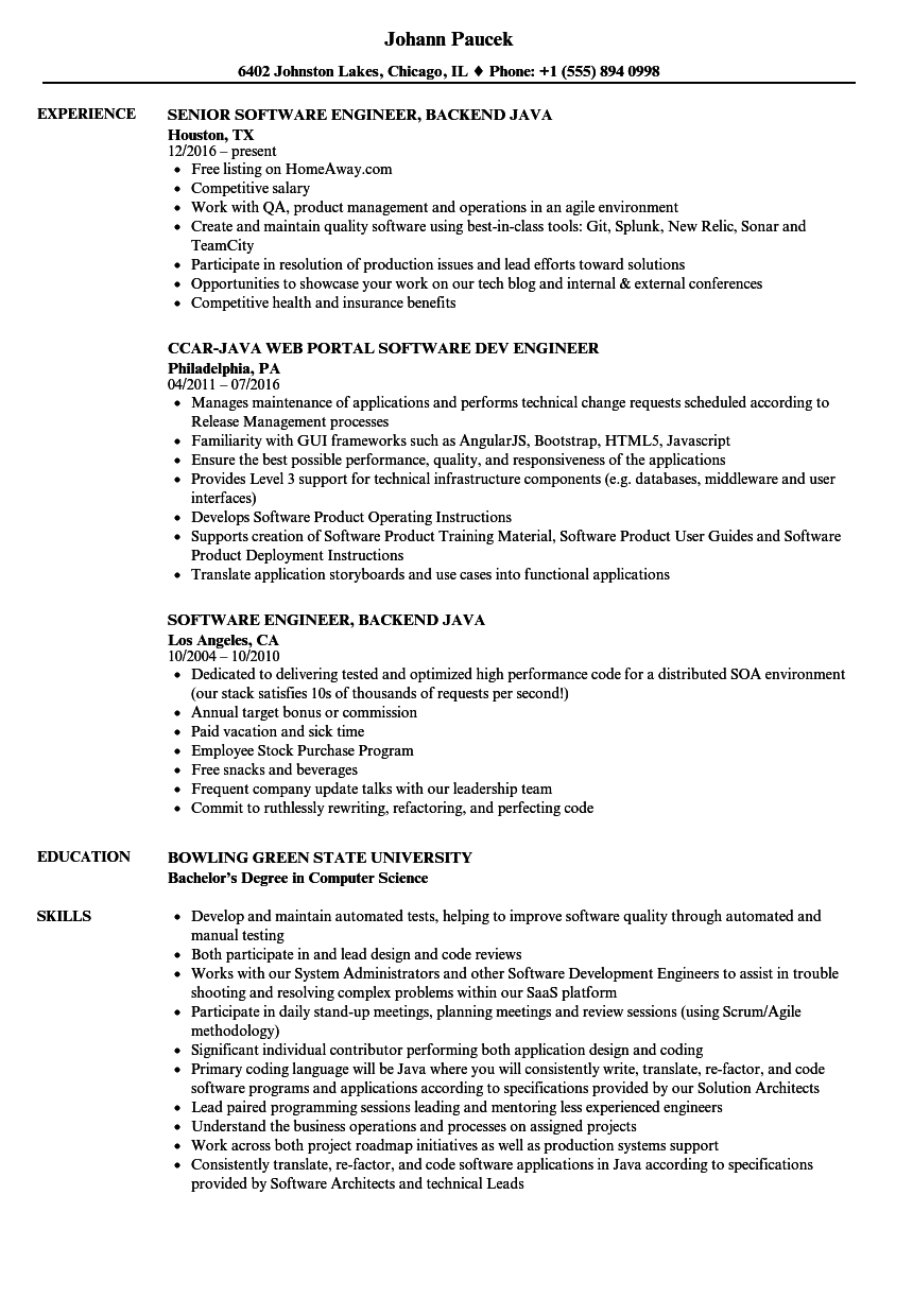 Engineer, Software Java Resume Samples | Velvet Jobs