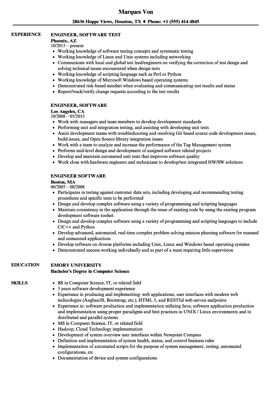 engineer software resume samples