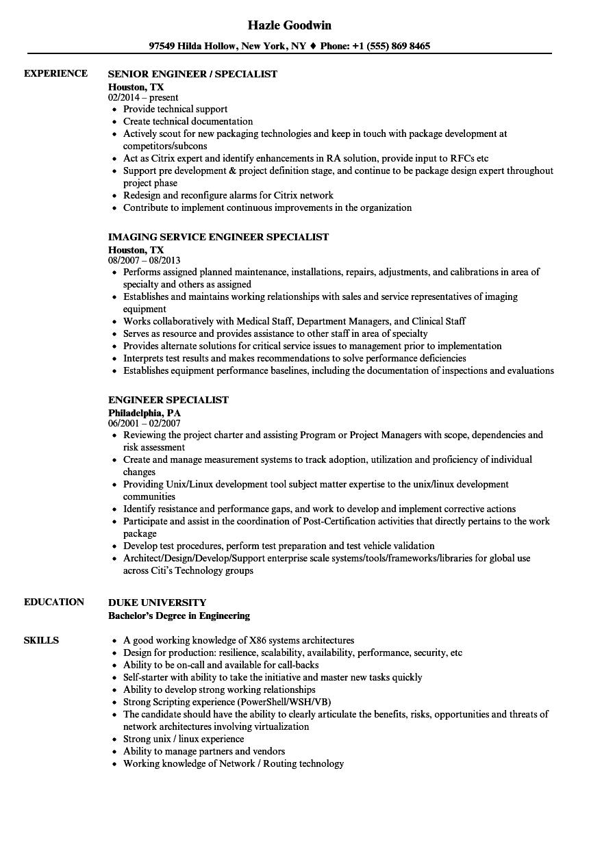 engineer specialist resume samples velvet jobs