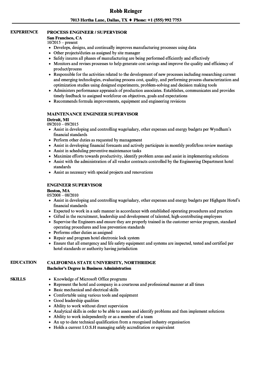 resume samples for supervisor positions - engineer supervisor resume samples velvet jobs