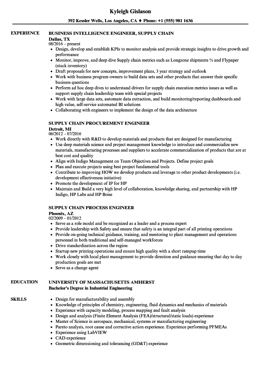 download engineer supply chain resume sample as image file - Procurement Engineer Sample Resume