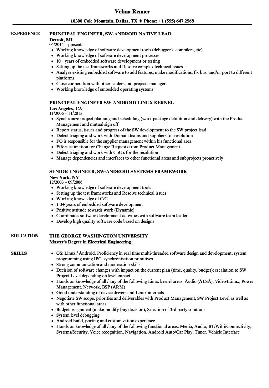 Engineer Sw Android Resume Samples Velvet Jobs